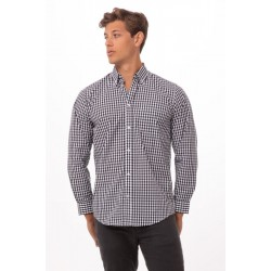 BLOUSE CHEF WORKS GINGHAM D500 DONKERBLAUW WIT GERUIT