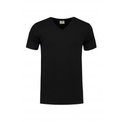 T-SHIRT L&S 1264 V-NECK COTTON ELASTAAN ZWART