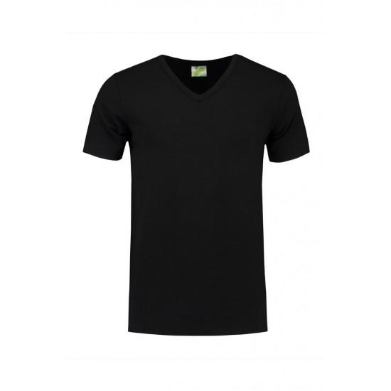 T-SHIRT L&S 1264 V-NECK COTTON ELASTAAN ZWART T shirt