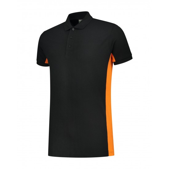 POLOSHIRT  L&S WORKWEAR SS 4600 BLACK ORANGE  Polo korte mouw